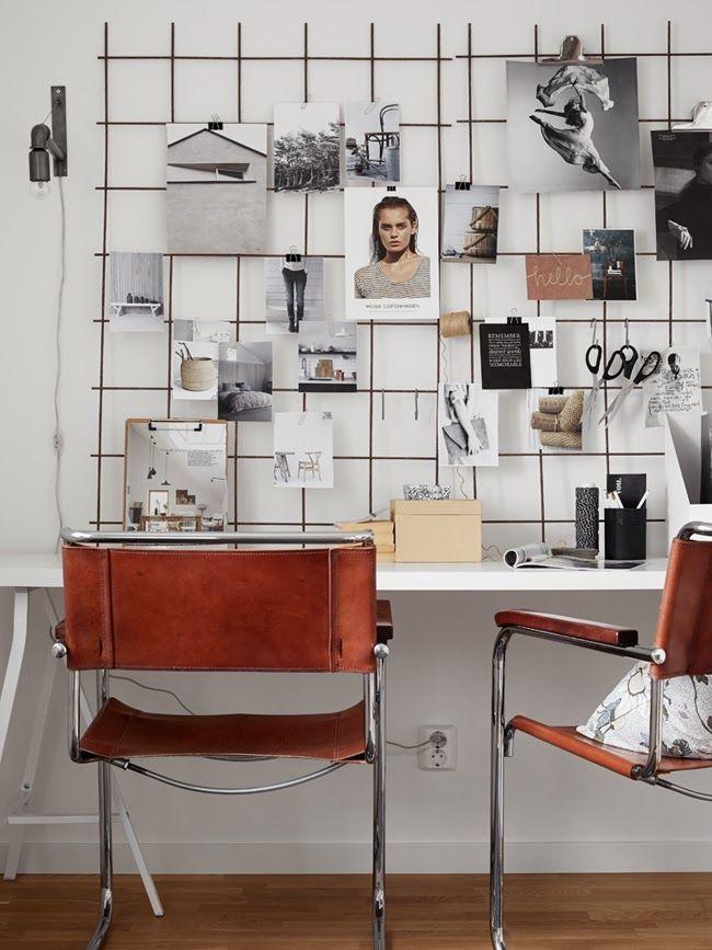 Powr t do szko y 12 pomys w na tablic nad biurkiem - Pinnwand gitter ...